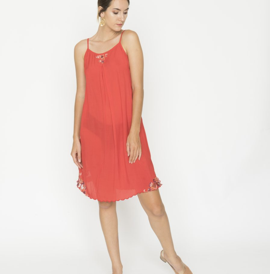 Yuan tank dress red china (2)